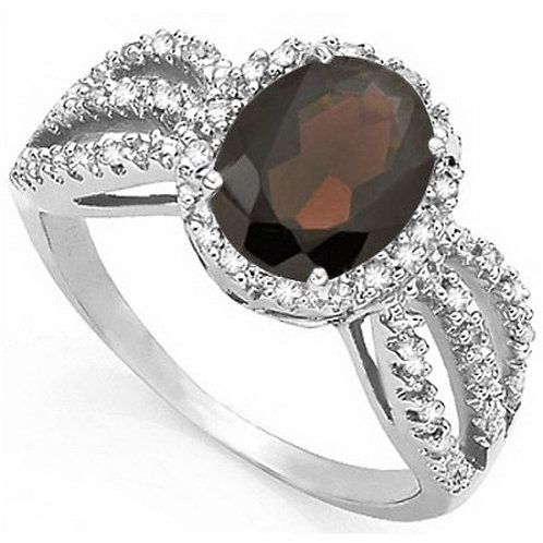 2.26ct Topaz and Diamond Ring in 925 Sterling Silver- Size 7