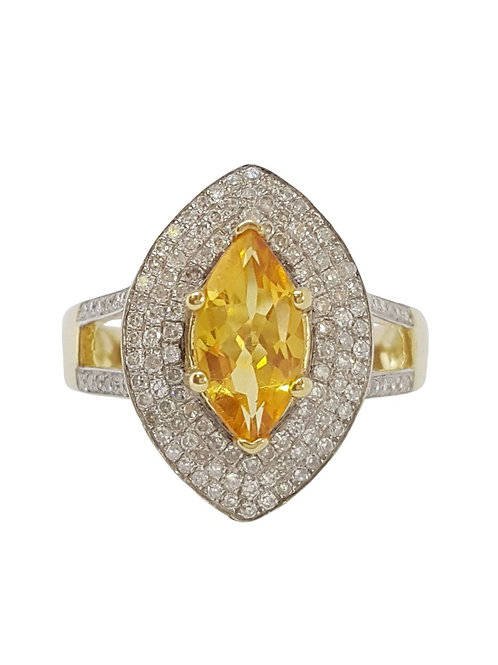 0.68ct Citrine and Diamond Ring in 14k Yellow Gold