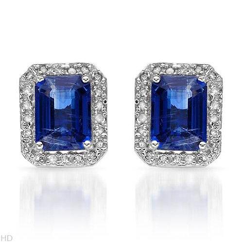 4.07ctw Diamond and Kyanite Earrings in 10K White Gold
