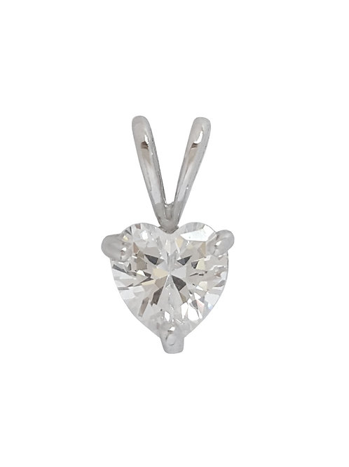 0.75ct Heart CZ Pendant in 925 Sterling Silver