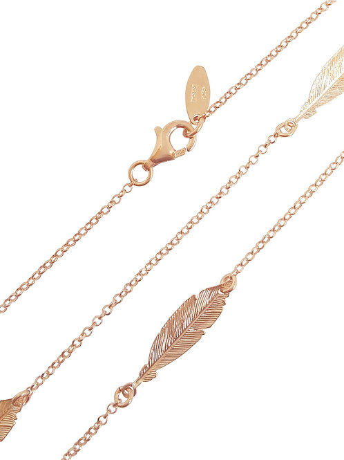 Rose Gold Plated Leaf Necklace in 925 Sterling Silver