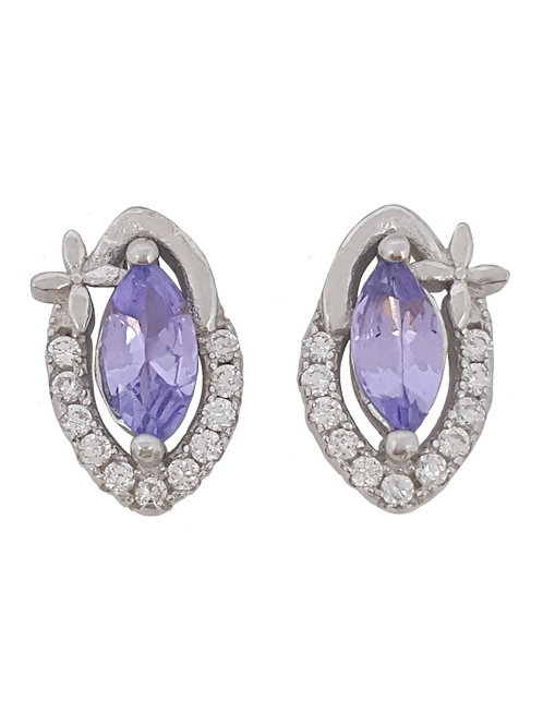 0.61ctw Marquise Tanzanite and CZ Stud Earrings in 925 Sterling Silver