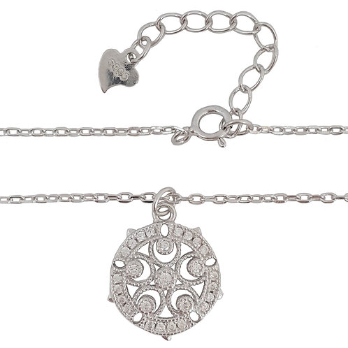 Clear CZ Round Floral Shape Pendant with Necklace in 925 Sterling Silver