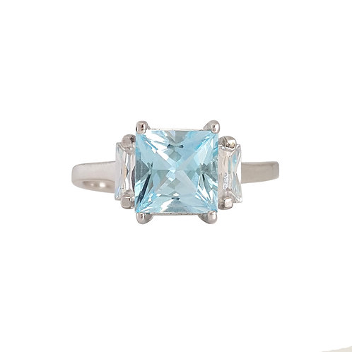 1.95ctw Natural Topaz and CZ Ring in 925 Sterling Silver