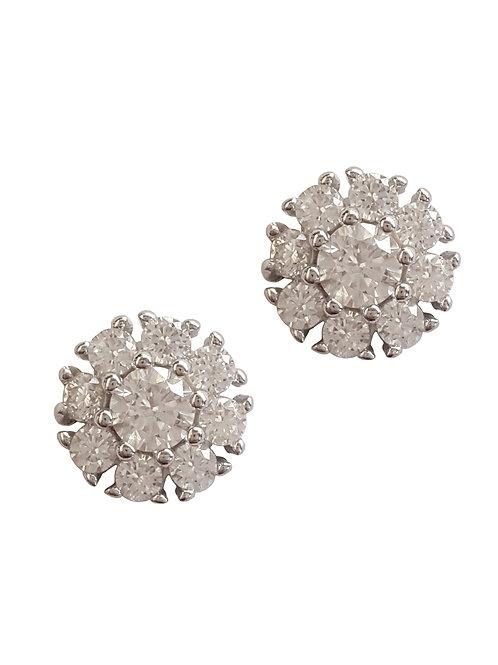 0.56ctw Clear CZ Flower Style Stud Earrings in 925 Sterling Silver