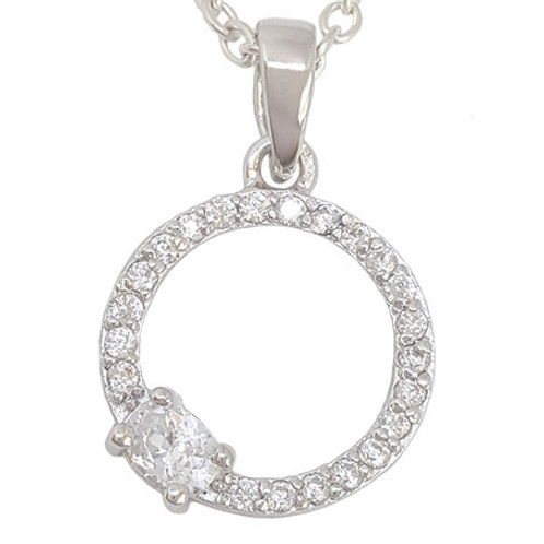 0.31ctw Circle of Life CZ Pendant in 925 Sterling Silver