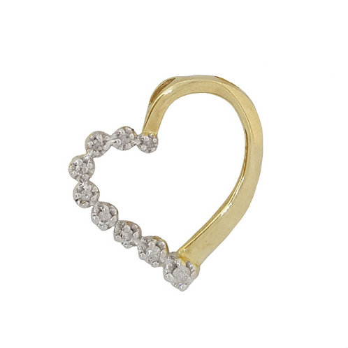 0.15ct Diamond Heart Pendant in 10K Yellow Gold