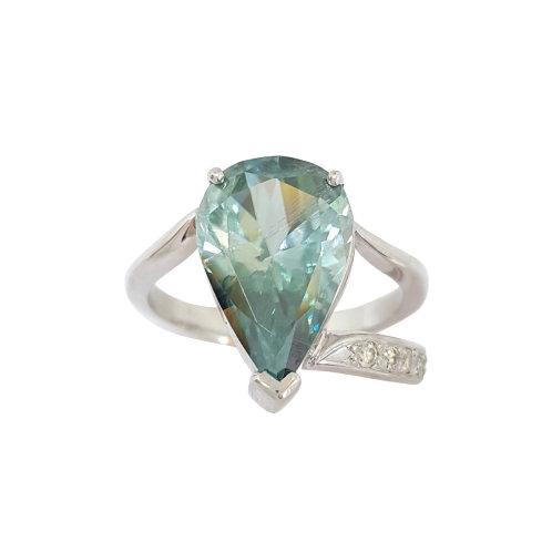 *CD DESIGNER* 4.193ct Pear Moissanite and Diamond Ring in 9k White Gold