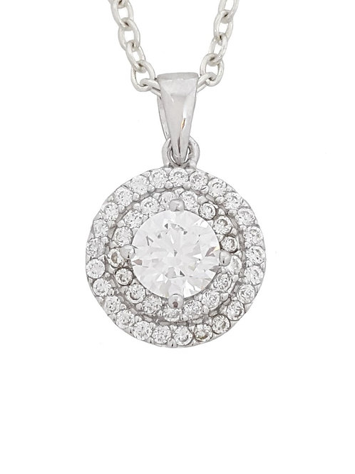 Cubic Zirconia Round Pendant in 925 Sterling Silver
