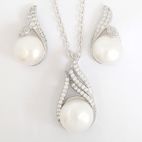 CZ and Pearl Pendant and Earring set in 925 Sterling Silver