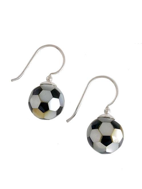 Soccer ball earrings in Sterling Silver