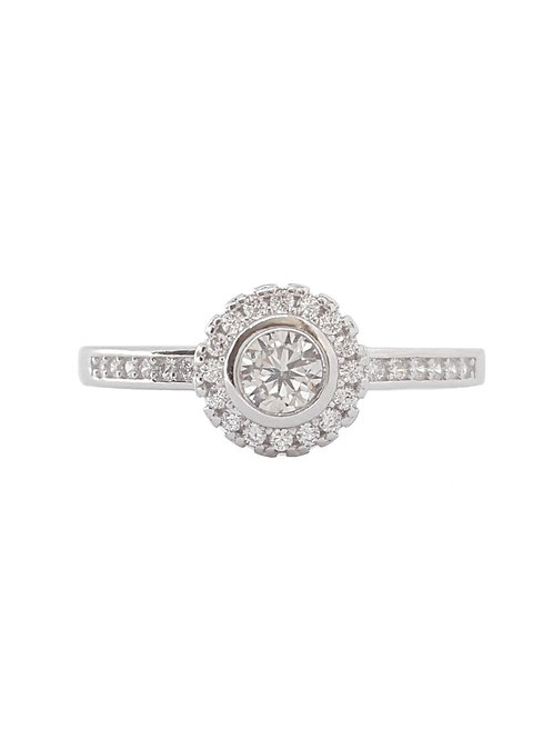 Tube Set CZ Flower style Ring in 925 Sterling Silver