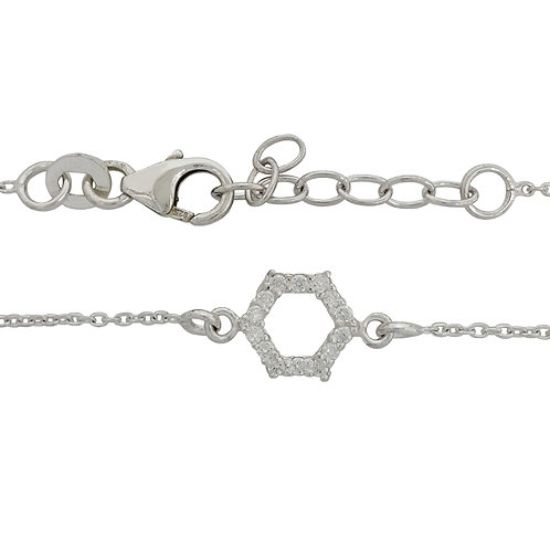 0.07ct Clear Cubic Zirconia Hexagon Shape Charm Bracelet in 925 Sterling Silver