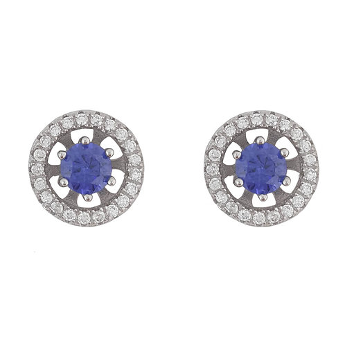0.50ctw Purple Tanzanite CZ Stud Earrings with Halo in 925 Sterling Silver