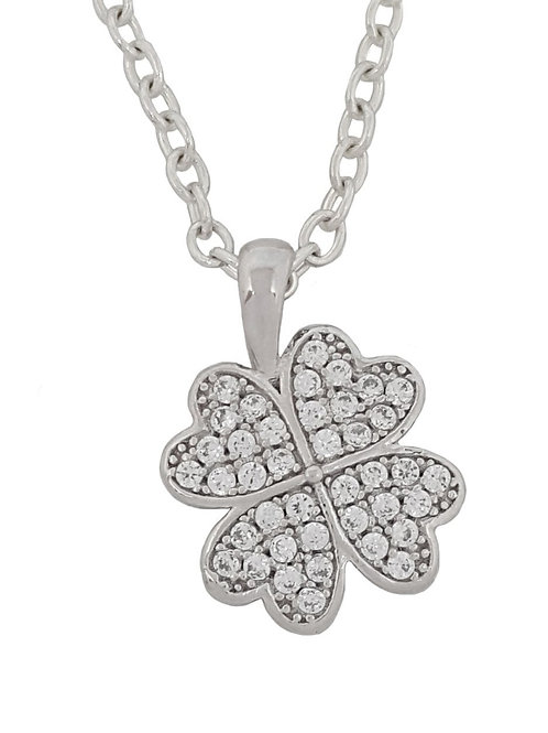 0.20ctw Cubic Zirconia Clover Shape Pendant in 925 Sterling Silver