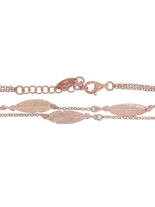 Rose Gold Plated Leaf Bracelet in 925 Sterling Silver