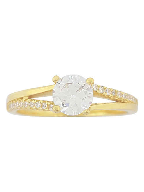 0.81ctw CZ Yellow Gold Plated Split Band Ring in 925 Sterling Silver