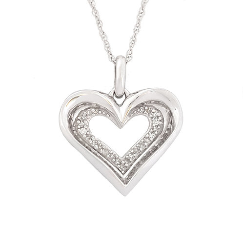 0.15ctw Diamond Heart Pendant in 10K White Gold with a chain