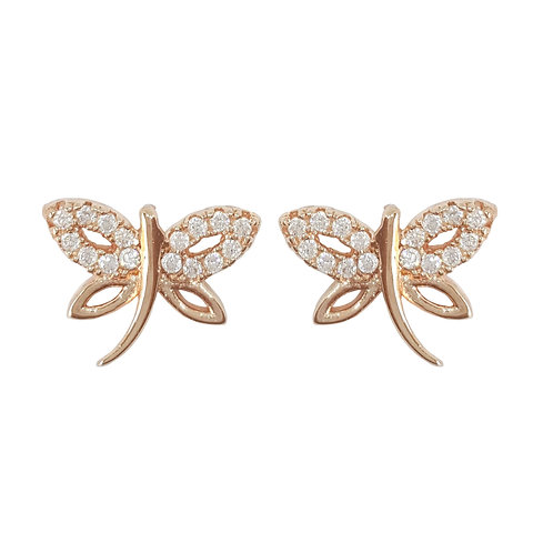 Rose Gold Plated Firefly Stud Earrings in 925 Sterling Silver