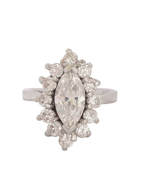4.65ctw CZ Marquise Halo Ring in Sterling Silver