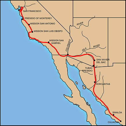 Map of De Anza from Tubac to San Francisco