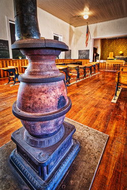 Pot Belly Stove inside Old Schoolhouse