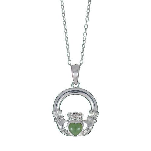 Silver Claddagh Pendant - Green Stone