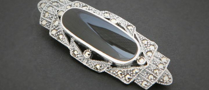 Silver Marquisite & Onyx Brooch