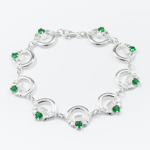 Silver Claddagh Bracelet with Green Stones