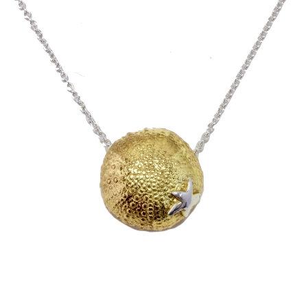 Gold Urchin & Starfish Pendant