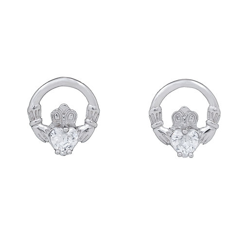 Silver Claddagh Earrings  - CZ Stones