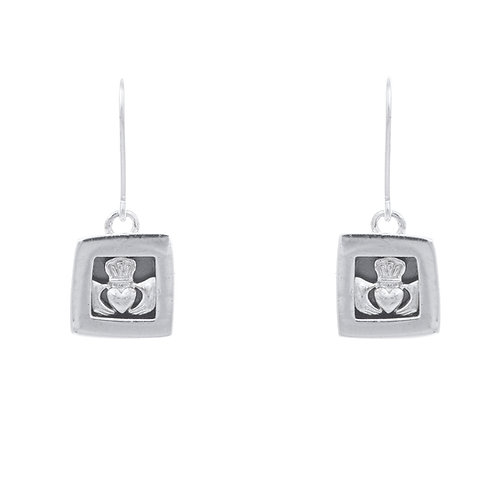 Silver Claddagh Earrings - Square Style