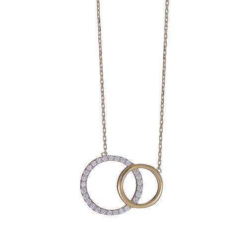 Gold Interlocking Circles Pendant with CZ Stones