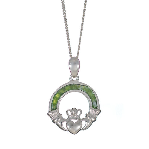 Silver Claddagh Pendant - Green Marble
