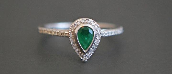 Diamond & Emerald Tear Drop Ring