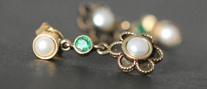 Gold Pearl & Emerald Drop Earrings