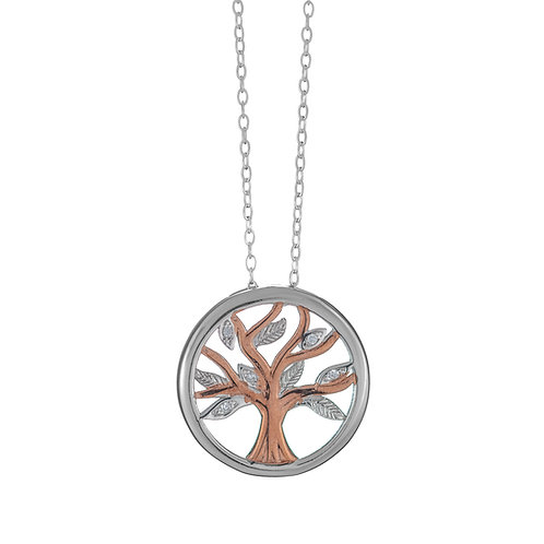 Rose Gold & Silver Tree of Life Pendant