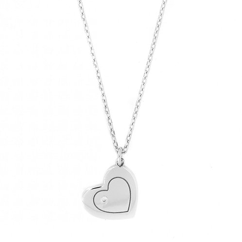 Silver CZ Heart Pendant