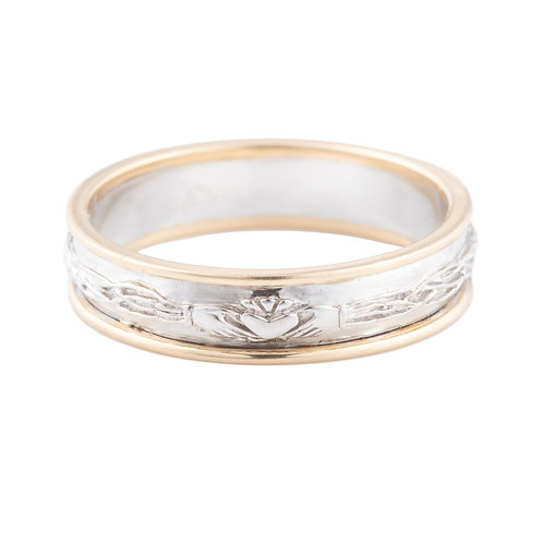 Yellow & White Gold Celtic Design Claddagh Ring