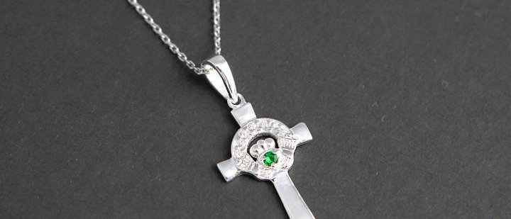 Silver green stone claddagh cross