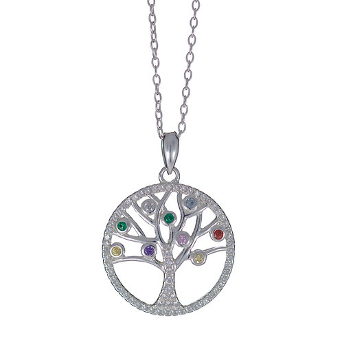 Sterling Silver Tree of Life Pendant with coloured stones