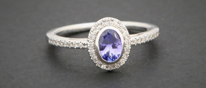 White Gold Tanzanite & Diamond Dress Ring