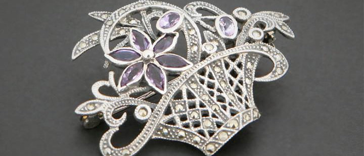 Silver Marquisite Bouquet Brooch