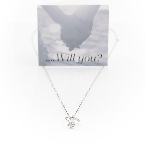 White Gold Promise Ring Pendant