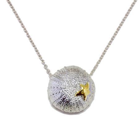 Silver Urchin & Starfish Pendant