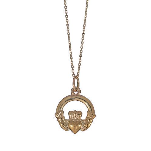 Gold Claddagh Pendant (12mm dia - slim)