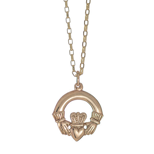 Gold Claddagh Pendant (12mm dia - heavy)
