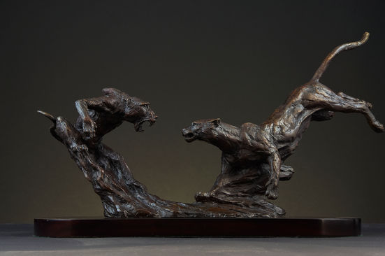 Leopard and Baboon, Height 25cm x width 70cm