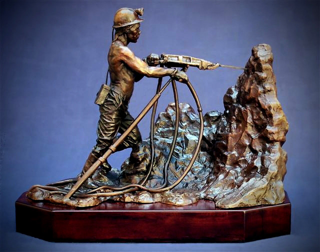 Miner. Rock Driller. Height 31cm x 39cm