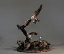 Vultures Feeding.  Height 50. Crcum. 39cm